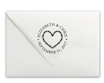 Personalized Stamp - Custom Self-Inking Stamp - Wedding Stamp - Save the Date Stamp - Hearts Wreath Wedding Stamp