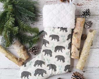 Geometric Bear Christmas Stocking - Holiday Stockings - Woodland Christmas Decorations - Boys Stocking - Custom Stocking - Personalized