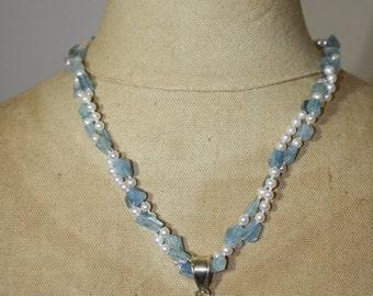 Aquamarine * Freshwater Pearl * Blue Topaz * Moonstone Necklace
