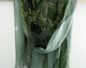 Koi fish silk scarf,Chiffon silk scarf,Hand painted scarf,Green silk scarf,Large silk scarf,Silk scarf,AnaSilkDesign