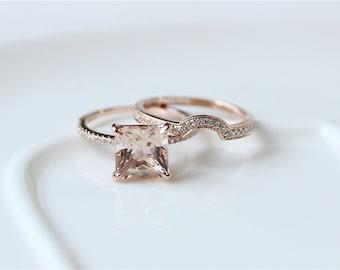Unique Bridal Set---8mm Princess Cut Morganite Engagement Ring & Half Eternity Diamond Wedding Band/14K Rose Gold Morganite Wedding Ring Set