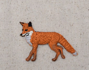 Natural - Red Fox - Walking Left - Full Body - Embroidered Patch - Iron on Applique - WA88