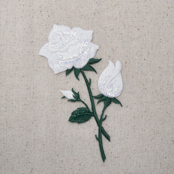 White rose buds on stem flower iron applique