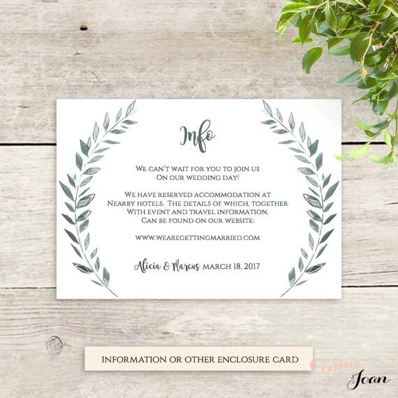 wedding enclosure card template rustic printable information