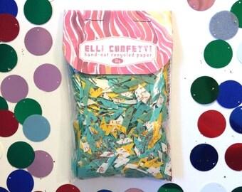 "Hand-cut Recycled Paper Confetti, Teal Green and Yellow Confetti - Elli Confetti - ""Summer Celebration"""