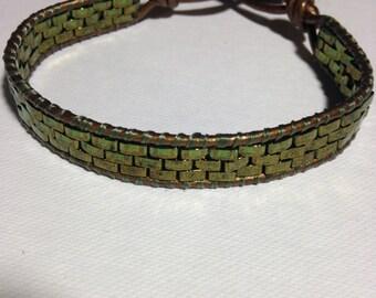 Emerald green single wrap bracelet