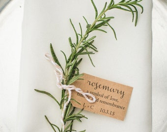 Rosemary / Personalized Wedding Place Setting Tags with Pre Cut Twine / Wedding Favor Tags, Shower Tags