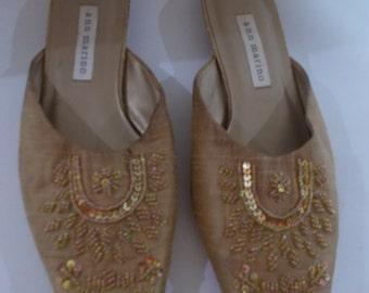 Vintage shoes mules - Ann Marino Gold slip on kitten heel beaded shoes UK 5 US 7 EU38