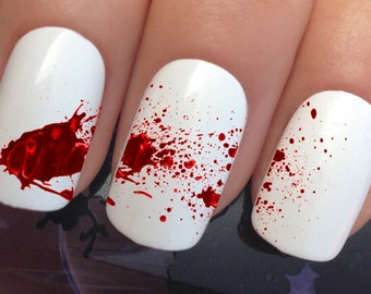 Blood nails etsy halloween nail art set 663 x 12 blood splatter water transfer decals stickers manicure set prinsesfo Choice Image