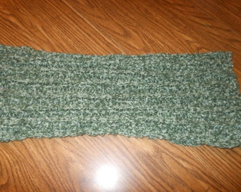 green hand knit scarf adult teenager scarf green and white scarf scarves hand made scarf winter scarf warm soft cuddly scarf holiday scarf