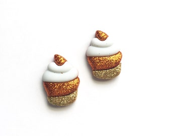 Cupcake Earrings, Cupcake Stud Earrings, Candy Corn Cupcake Earrings, Orange Cupcake Earrings, Halloween Cupcake Earrings, Mini Food Jewelry
