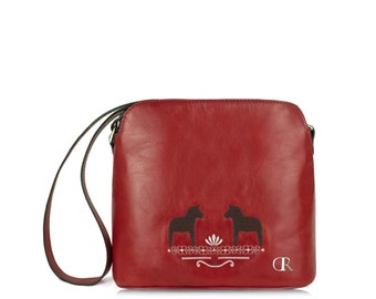 "Mia Red ""Folk Horses"" - cute little red crossbody bag, real leather embroidered handbag, carmine folk traditional natural leather handbag"