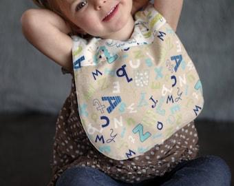 Alphabet Bib / Reversible / Baby Bib / Toddler  Bib / Large Bib / Drool Bib / Feeding / Bib / Shower Gift /