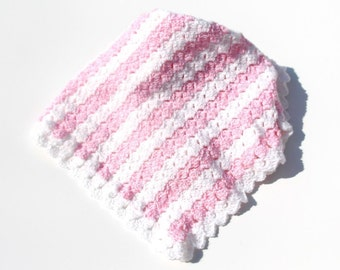 Pink Baby Blanket, Crochet Baby Blanket, Striped Blanket, Baby Blanket, Stroller Blanket, Pink, Baby Blanket, Crochet Blanket, Made to Order