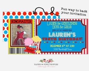 Ladies & Gentleman Circus Themed Invitations