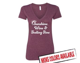 Sunshine, Wine & Feeling Fine V-Neck