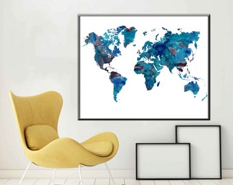 World Map Large World Map Poster World Map Art World Map Decor World Map Print World Map Gift