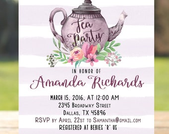 Tea party bridal shower invitation, tea party baby shower invitation, tea party invitation printable, tea party birthday invitation