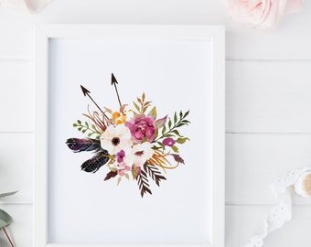 floral nurery print floral wall art, watercolor flower print wall art boho print floral print art , floral printable boho chic wall art