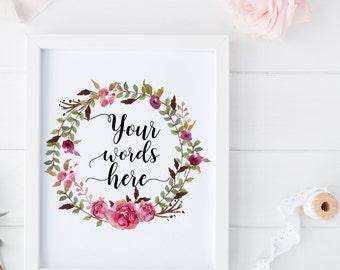 quote print, printable art, custom typography art, Custom quote print, custom art print, custom nursery art, Personalized quote