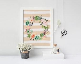PRINTABLE Art Peach and White Floral Watercolor Stripe Floral Stripe Nursery Decor Floral Art Print Floral Wall Art Home Decor