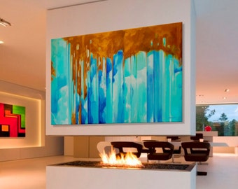 Abstract Painting Blue Orange Painting Large Modern Painting, MADE TO ORDER, Dimensions: 76.7 x 51.2 inches (195 x 130 cm)