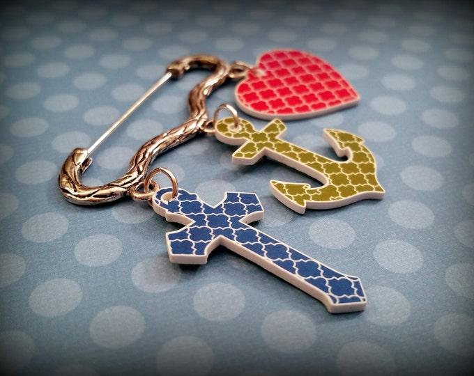 Faith Hope Charity Pin - Religious pin - Christian jewelry - Cross Heart Anchor pin - Orange Blue Green - Church jewelry - Shrink Plastic