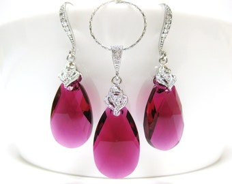 Ruby Fuchsia Teardrop Earrings & Necklace Gift Set Swarovski Hot Pink Crystal Wedding Jewelry Bridal Pink Jewelry Bridesmaids Gift (NE005)