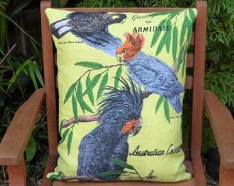Cockatoo Cushion Cover Australian Birds Australiana Upcycled Vintage Tea Towel Gift for Bird Lover Souvenir Black Cockatoo