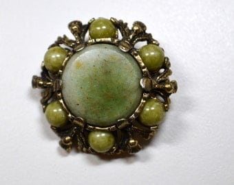 Vintage MIRACLE Scottish Brooch Signed Miracle Green Stone Celtic Style Design Round Design