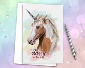 Unicorn Greeting Card - 'Sassy A.F' Blank inside, Original Illustration, Birthday, Horse, Rainbow, Funny