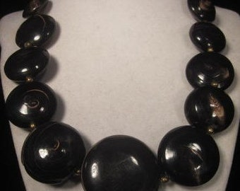 Vintage Boho Dark Brown large wood Disks with lighter brown swirls Beaded Necklace