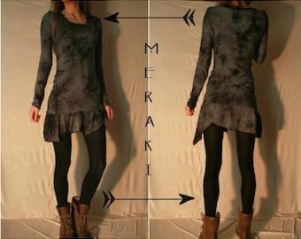 Tiedye dress - bamboo jersey . black/grey - long sleeves - asymmetric short skirt - fluid, supercomfy