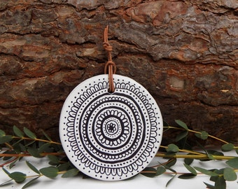 Unique handmade .air dry clay.mandala.wall hanging.wall art.bold.striking.unique.white.eastern sapphire.bespoke.