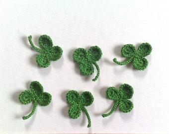 Set 6 Crochet Clover Applique St. Patrick's Day Decoration Green Shamrock Ornament Lucky Leaf Clover