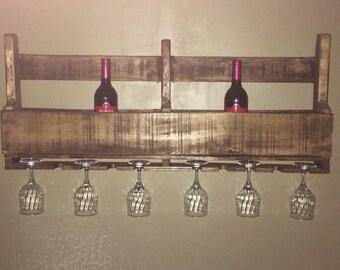 Wine Rack, Primitive Wine Rack, Rustic Wine Rack, Reclaimed Wine Rack, Wine and Glass Rack, 8 bottle 10 Glass Wine Rack, Country Wine Rack
