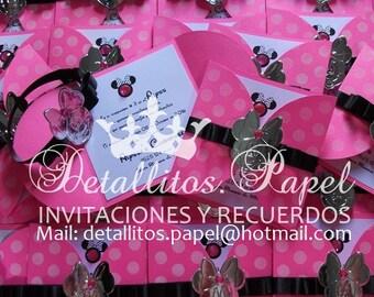 Minnie Mouse Invitation, Hot Pink Minnie, Minnie Invitations 30