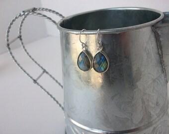 Labradorite Earrings Serling Silver Labradorite Earrings Genuine Labradorite Sterling Silver Dangle Earrings Blue Flash drop Earrings E0108