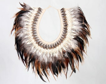 ON SALE Feathers tribal decorative necklace, Papua Necklace
