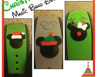 Christmas Magic Band Decals - Santa hat, Elf hat, or Reindeer