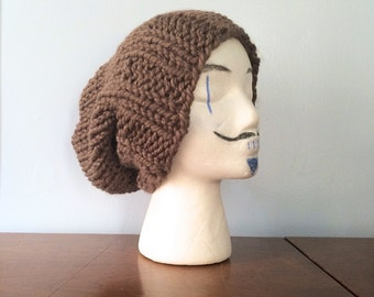 "Mens Chunky Beanie ""Mika"" - Mens Slouchy Beanie - Chunky Toque - Brown Slouch Hat - Chunky Knit Beanie - Mens Winter Hat - Grunge Beanie"