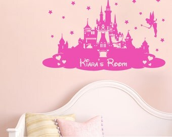 Disney Princess Castle Personalised - Wall sticker - Children's Bedroom/Nursery - Vinyl Decal