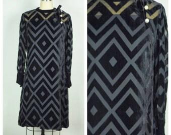 Vintage 1960s Dress / 60s Long Sleeved Black Velvet Burnout Dress / Small to Medium
