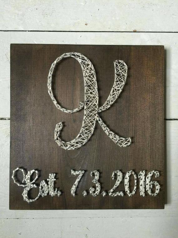 Wedding Gift String Art : Initial String Art with Wedding Date, wedding gift, anniversary gift ...
