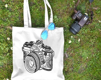 Camera Tote Bag - Shopping Tote Bag - Canvas Tote Bag - Printed Tote Bag - Cotton Tote Bag -Large Canvas Tote-graphic Tote -Photographer Bag