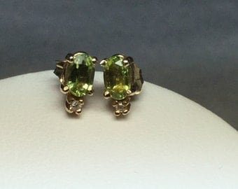 Peridot and Diamond Earrings 14 KT Yellow Gold