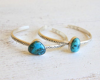 Stormy Mountain Turquoise Cuff, Sterling Silver, Hand Stamped Cuff, Stacking Cuff, Natural Turquoise Bracelet, December Birthstone