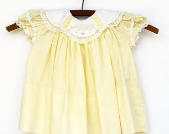 1950's Baby Girl Dress, Yellow Baby Dress, Baby Clothes, 12 Months