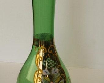 Bohemian Hand Painted Green Bud Vase