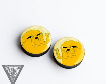 Pair gauges Adventure time image ear plugs,4,5,6,8,10,12,14,16,18,20,22,24,26-60mm;6g.4g,2g,0g,00g;1/4,5/16,3/8,1/2,9/16,5/8,3/4,7/8,1 1/4